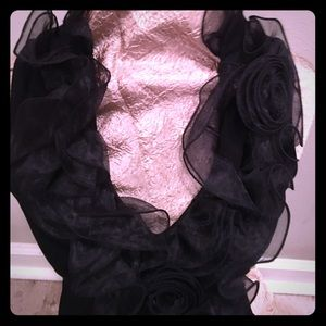 White House Black Market Black Top with Tulle